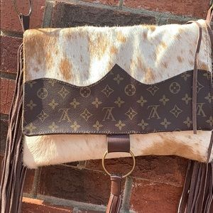 Up cycled cross body bag with fringe